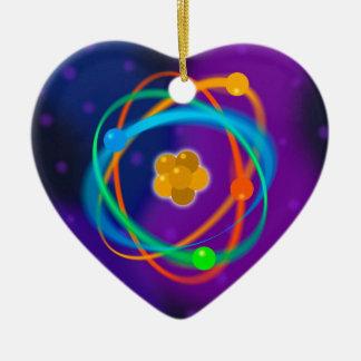 Taches de structure atomique ornement cœur en céramique