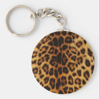 Taches naturelles de léopard porte-clé rond
