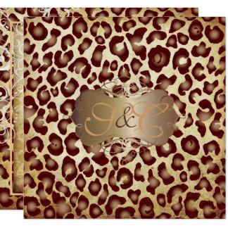 Taches vintages de léopard + remous carton d'invitation  13,33 cm