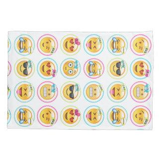 Taie d'oreiller colorée d'Emoji des textes