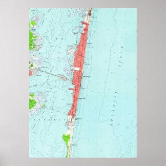 Tailles vintages NJ Map (1953) de bord de la mer Poster
