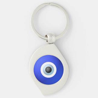 Talisman à protéger contre l'oeil mauvais porte-clé swirl argenté
