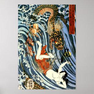 Tamatori et beaux-arts de Japonais de Kuniyoshi de Poster