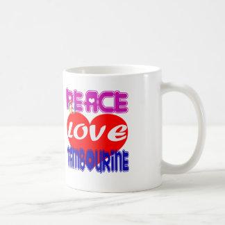 Tambour de basque d'amour de paix mug blanc
