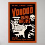 Tambours de diable de vaudou - affiche avec l'homm