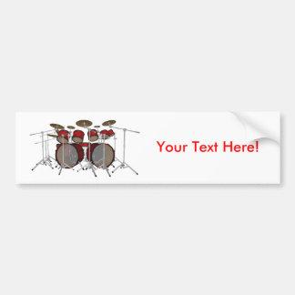Tambours : Kit de tambour rouge : modèle 3D : Autocollant Pour Voiture
