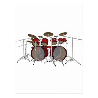 Tambours : Kit de tambour rouge : modèle 3D : Cartes Postales