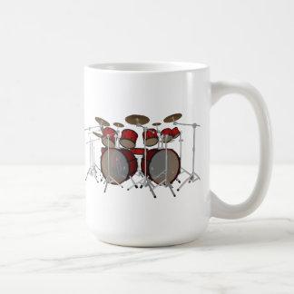 Tambours : Kit de tambour rouge : modèle 3D : Mug