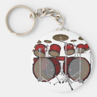 Tambours : Kit de tambour rouge : modèle 3D : Porte-clé Rond