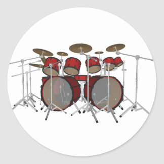 Tambours : Kit de tambour rouge : modèle 3D : Sticker Rond