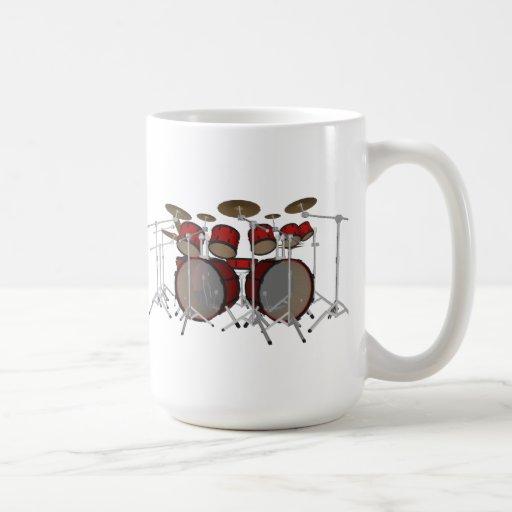 Tambours : Kit de tambour rouge : modèle 3D : Mugs