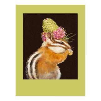 tamia avec le casquette de trèfle de prairie sur cartes postales