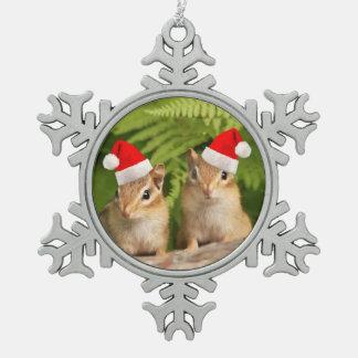 Tamia de bébé de Père Noël Ornement Flocon De Neige Pewter