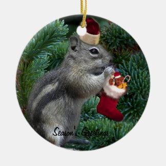 Tamia effrontée de Noël Ornement Rond En Céramique