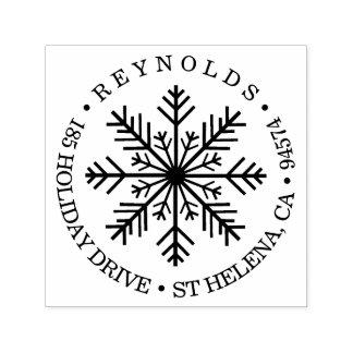 Tampon Auto-encreur Adresse de retour ronde de flocon de neige de