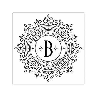 Tampon Auto-encreur Byline décoratif fleuri d'affaires de cadre d'art