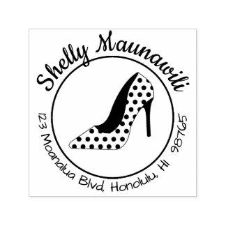 Tampon Auto-encreur Chaussure Girly de point de polka de timbre mignon