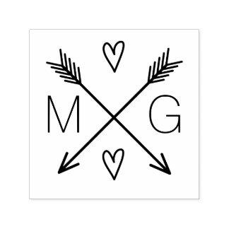 Tampon Auto-encreur Double logo de mariage de monogramme de coeurs