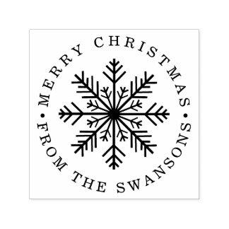 Tampon Auto-encreur Flocon de neige personnalisé de Joyeux Noël