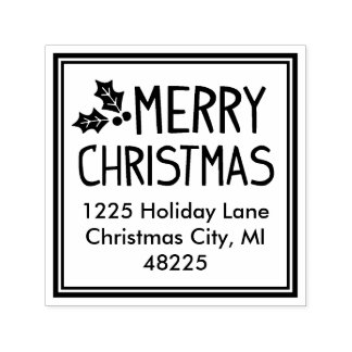 Tampon Auto-encreur Joyeuse adresse de retour de Noël |