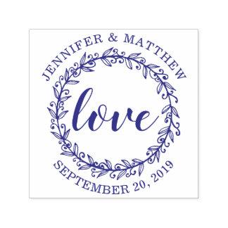 Tampon Auto-encreur Mariage botanique violet fait sur commande d'amour