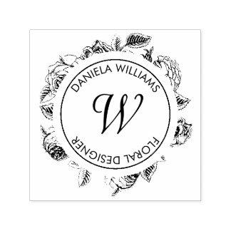 Tampon Auto-encreur Tampon en caoutchouc floral de monogramme Luxe