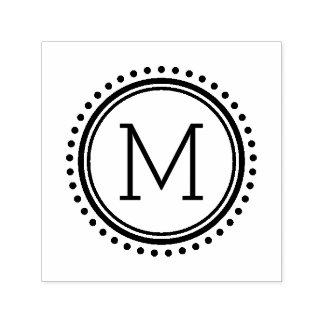 Tampon Auto-encreur Timbre pointillé de monogramme de famille de