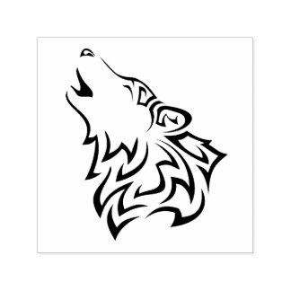 Tampon Auto-encreur Tribal de loup d'hurlement