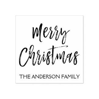 Tampon en caoutchouc de Joyeux Noël et de nom de