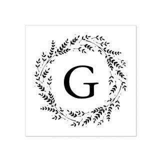 Tampon en caoutchouc rustique de monogramme de