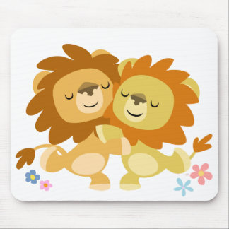 Tango mignon Mousepad de deux lions de bande dessi Tapis De Souris