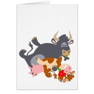 Tango ! ! (taureau et vache de bande dessinée) carte de vœux