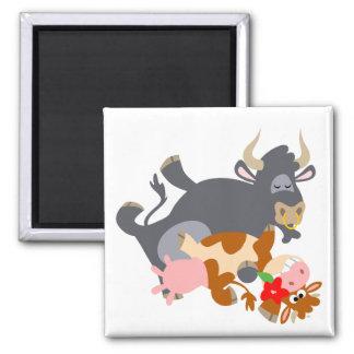 Tango ! ! (taureau et vache de bande dessinée) magnet carré