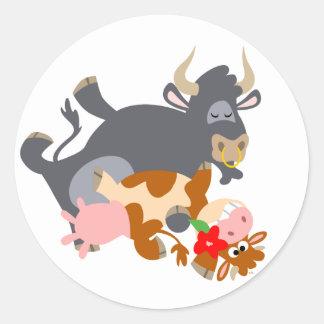Tango ! ! (taureau et vache de bande dessinée) sticker rond