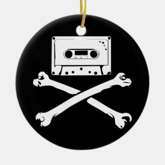 Tape & Crossbones Music Pirate Piracy Home Taping Christmas Tree Ornaments