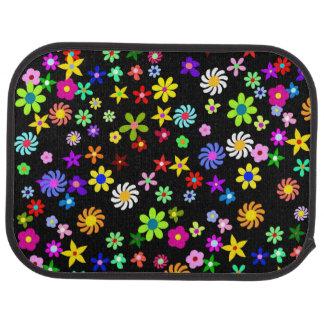 Tapis arrière de voiture de fleurs colorées