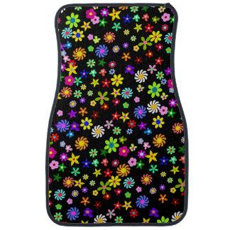 Tapis avant de voiture de fleurs colorées