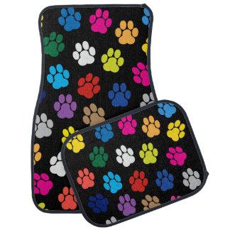 Tapis colorés de voiture de pattes de chien