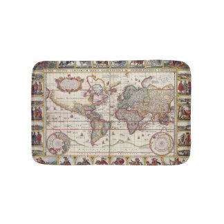 Tapis De Bain 1652 carte du monde, carte du monde d'atlas de mer