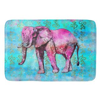 Tapis De Bain À la mode bleu de rose d'aquarelle d'éléphant