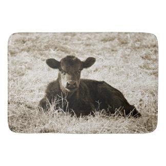 Tapis de bain adorable de vache à bébé de sépia