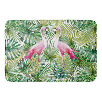 Tapis De Bain Aloha animal d'oiseau de flamant dans la jungle