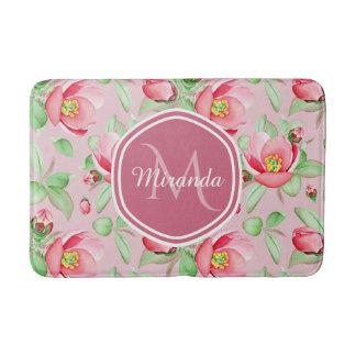 Tapis De Bain Apple rose doux fleurissent floral avec le