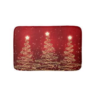 Tapis De Bain Arbres de scintillement de Noël élégant rouges