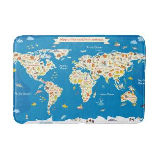 Tapis De Bain Badine la carte du monde avec des animaux