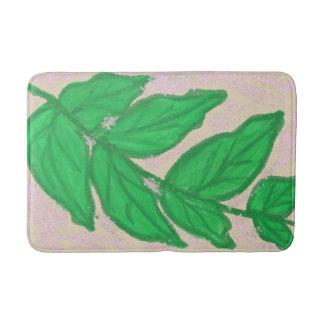 Tapis de bain beige de rose vert de feuille
