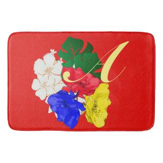 Tapis De Bain Blanc floral du rouge | du jaune | du bleu | de