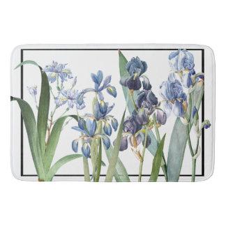 Tapis de bain bleu botanique de jardin de fleurs