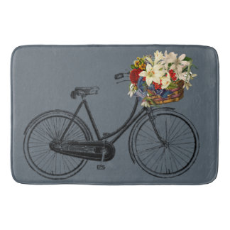 Tapis De Bain Bleu gris d'ardoise de fleur de vélo de bicyclette