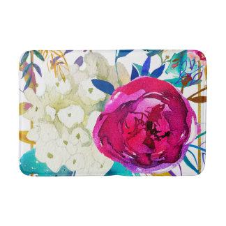 Tapis De Bain Botanique moderne floral coloré audacieux lumineux